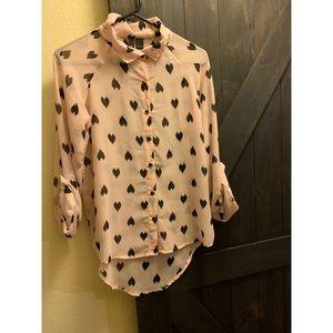Sheer heart long sleeve button up blouse